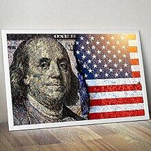 LOIUYT Leinenplakat Modern Benjamin Franklin