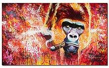 LOIUYT Wandkunst Affe raucht Bild Leinwand Malerei
