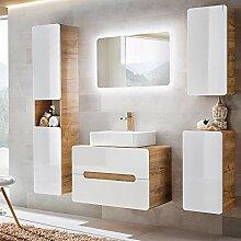 Lomadox Badezimmer Set Hochglanz weiß und