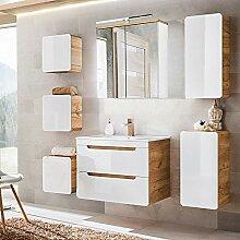 Lomadox Badezimmermöbel Set Hochglanz weiß mit