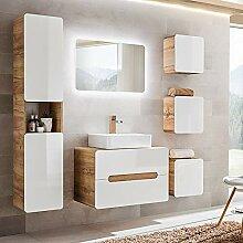 Lomadox Badezimmermöbel Set in Hochglanz weiß