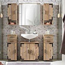Lomadox Badmöbel Set mit Holzoptik in Silbereiche