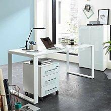 Lomadox Design Schreibtisch 160cm mit Glasplatte -