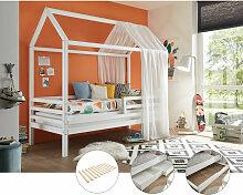 Lomadox - Kinderbett mit hohem Dach LUANA-78 aus