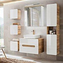 Lomadox Komplett Badezimmer Set in Hochglanz weiß