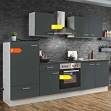 Lomadox Küche in grau Küchenzeile 270 cm