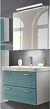 Lomadox Landhaus Badezimmerrmöbel Waschplatz Set mit Massivholzfronten blau gewischt, LED-Spiegelschrank und Keramik-Waschtisch, B/H/T ca. 80/200/46cm