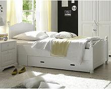 Lomadox - Landhaus Bett, Kiefer massiv, weiß