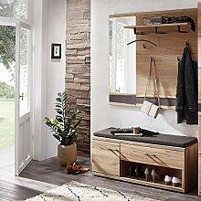 Lomadox Landhaus Garderobenmöbel Set Wildeiche