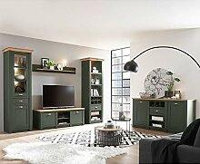 Lomadox Landhaus Wohnwand Set mit Anrichte, grün