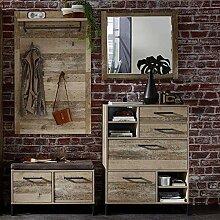 Lomadox Vintage Garderoben Set 3-teilig, Holzdekor