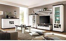 Lomadox Wohnzimmer Wohnwand Set in Pine weiß &