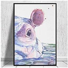 Lomoko Happy Hippo Malerei Leinwanddrucke Leinwand