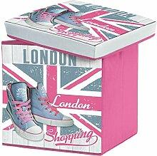 London–Sitzsack London Hocker Aufbewahrungskiste Aufbewahrung Riesen Décor London Shopping Pink 38x 38x 38cm