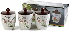 London Boutique Tee Kaffee Zucker Kanister Set