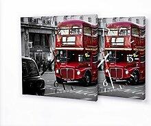 London Bus - Lautlose Wanduhr mit Fotodruck auf Leinwand Keilrahmen | geräuschlos kein Ticken Fotouhr Bilderuhr Motivuhr Küchenuhr modern hochwertig Quarz | Variante:30 cm x 30 cm mit schwarzen Zeigern - GERÄUSCHLOS