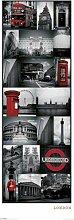 London - Collage - Städte Tür Poster Plakat Druck - Grösse 53x158 cm + 2 St. Posterleisten Kunststoff 62 cm schwarz