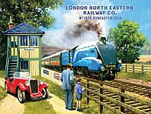 London North Eastern Railway Company. Blau Dampflokomotive bei Signal Karton mit Rot MG. Vater und Sohn Train Spotting. Mitte des 20. Jahrhunderts für Haus, Home, Kneipe oder Garage. Aus Metall/Stahl Wandschild, stahl, 30 x 40 cm