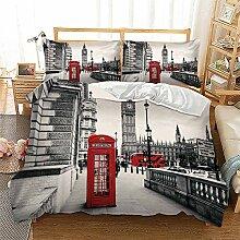 London Stadt 3D Print Betten Set Rot Telefonzelle