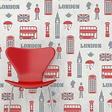 London Tapete Repeat Wand Schablone Jungen Schlafzimmer
