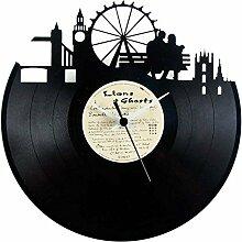 London Uhr aus Vinyl (London) Geschenkidee, Schwarz, Vinyluse original