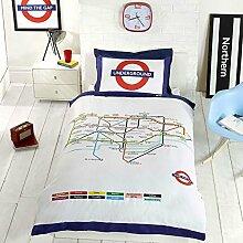 Londoner U-Bahn Karte einzelner Bettbezug und