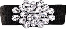 LONFENN Herbst Und Sommer Mode Diamant Elastischen Bund Rock Dekoration Breiten Gürtel Diamant Gürtel L Code White