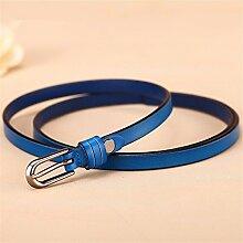 LONFENNE Frauen Kleid Mode Accessoires schmücken Taillengürtel, blau, 80-95 cm
