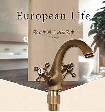 Long Tou Badezimmer Waschbecken Wasserhahn Waschbecken Einlochmontage Croissants und Kaltwasserhahn Publikum Töpfe voller antiken europäischen Kupfer-Becken Wasserdrachen