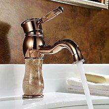 LONGCHL European-Wide vergoldete Kupfer Warmes und kaltes Wasser Waschtisch Armatur Wasserhahn antike Retro, Braun