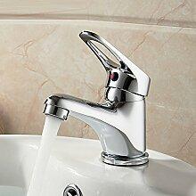LONGCHL Kleine Stil elegantes Badezimmer Waschbecken Wasserhahn Messing Gefäß Waschbecken Wasserhahn Armatur chrom Finish Classic Badewanne Waschbecken Armaturen