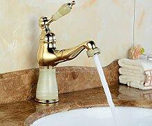 LONGCHL Ziehen Sie Hahn Waschbecken Wasserhahn Golden/Rose Messing & Jade Heiß Kalt Mixer Becken tippen Sie auf Luxus Wasserhahn Kran Beige
