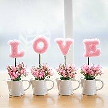 LongGu Europäischen Liebe Home Modellierung Simulation Kreative Keramik Blumentopf Home Ausstattung weiche Dekoration Dekoration Dekoration Wohnzimmer Schrank Rosa Wasserkocher Liebe
