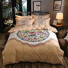 Longless Baumwolle, Druck, 4-teilig, Baumwolle, Bettwäsche, Bettdecke, Bettbezug, Bett, Ki