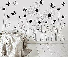 Longless Einfache Wand Aufkleber, Schwarz und Weiß creative personalisierte Aufkleber, wasserfest Selbstklebend, Wohnzimmer Zimmer Bett warm Aufkleber