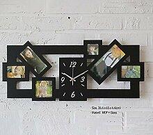 Longless Kreative Bilderrahmen Wanduhr großes Wohnzimmer mute Taktholz Quarzuhr 28,4 * 65 * 4,4 cm