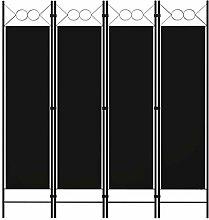 LONGMHKO Raumteiler 4-TLG. Raumteiler Schwarz 160