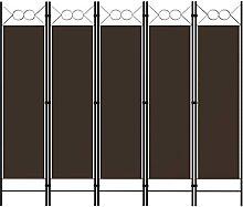 LONGMHKO Raumteiler 5-TLG. Raumteiler Braun 200 x
