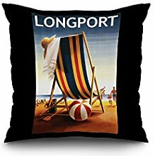 Longport, New Jersey - Beach Chair and Ball (16x16 Spun Polyester Pillow Case, White Border)