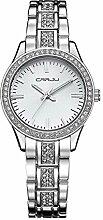 longqi Elegante Damen Business Quarz Armbanduhr Damen Kristall Dekoration Armbanduhr silber