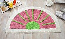 Longshien-Teppich Halbkreisförmige Wassermelone Matten Baumwolle Chenille saugfähige Verdickung rutschfeste Badezimmer Badezimmer Türmatten Türmatten ( Farbe : Pink )