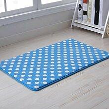 Longshien-Teppich Langsam Rebound Badezimmer Matratze Türmatten Badezimmer Anti - Skid-Pads Badezimmer Schlafzimmer Wohnzimmer Fussmatten Türmatten ( Farbe : Dots In Blue , größe : 40*120 )