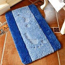 Longshien-Teppich Schlafzimmer Küche Badezimmer Anti - Skid Pad Absorbent Pad Türmatten ( Farbe : Blau , größe : 50*80cm )