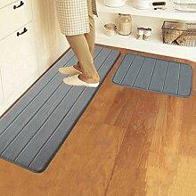Longshien-Teppich Speicher Cotton Badezimmer Mat Absorbent Pad Matte Küche Mats Lange Badezimmer Anti - Skid Pad Mat Türmatten Türmatten ( Farbe : Grau )