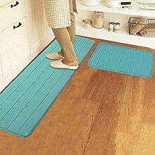 Longshien-Teppich Speicher Cotton Badezimmer Mat Absorbent Pad Matte Küche Mats Lange Badezimmer Anti - Skid Pad Mat Türmatten Türmatten ( Farbe : Blau )