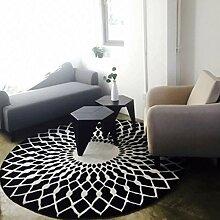 Longshien-Teppich Stilvolle schwarze und weiße runde Wohnzimmer Couchtisch großer Teppich Türmatten ( größe : 120cm )