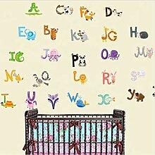 LONGTENGHEIHA Az Alphabet & Tiere Wandaufkleber