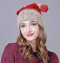 Longwei Frauen Hüte Damen Herbst und Winter Cover-ear Nette gestrickte Wollmütze Mütze Ohren Dekoration (Color : Red)