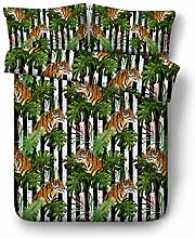 LongYu Dschungel-Tiger und Papagei gedruckt Quilt