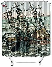 LongYu Sea Boat Octopus Duschvorhang
